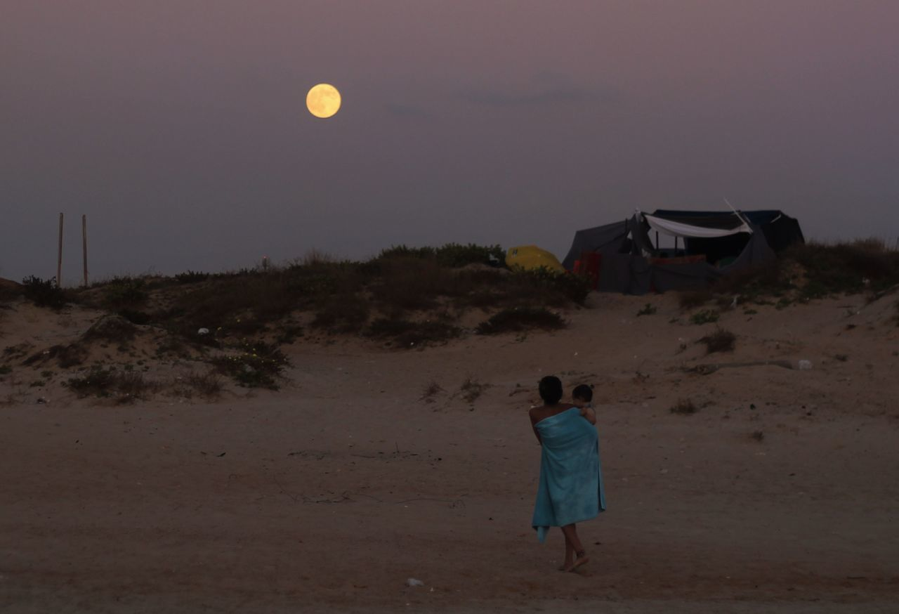 Beautiful stock photos of full moon, Beach, Child, Childhood, Dusk