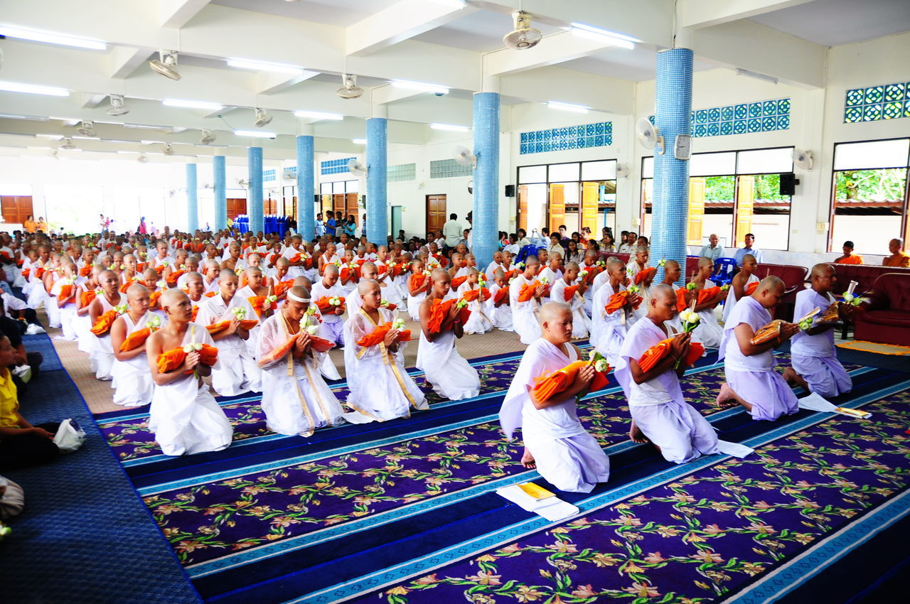 Architecture Crowd Day Indoors  Large Group Of People Men Monkey Neophyte Ordain People Priest Real People Religion Sitting Spirituality Thai