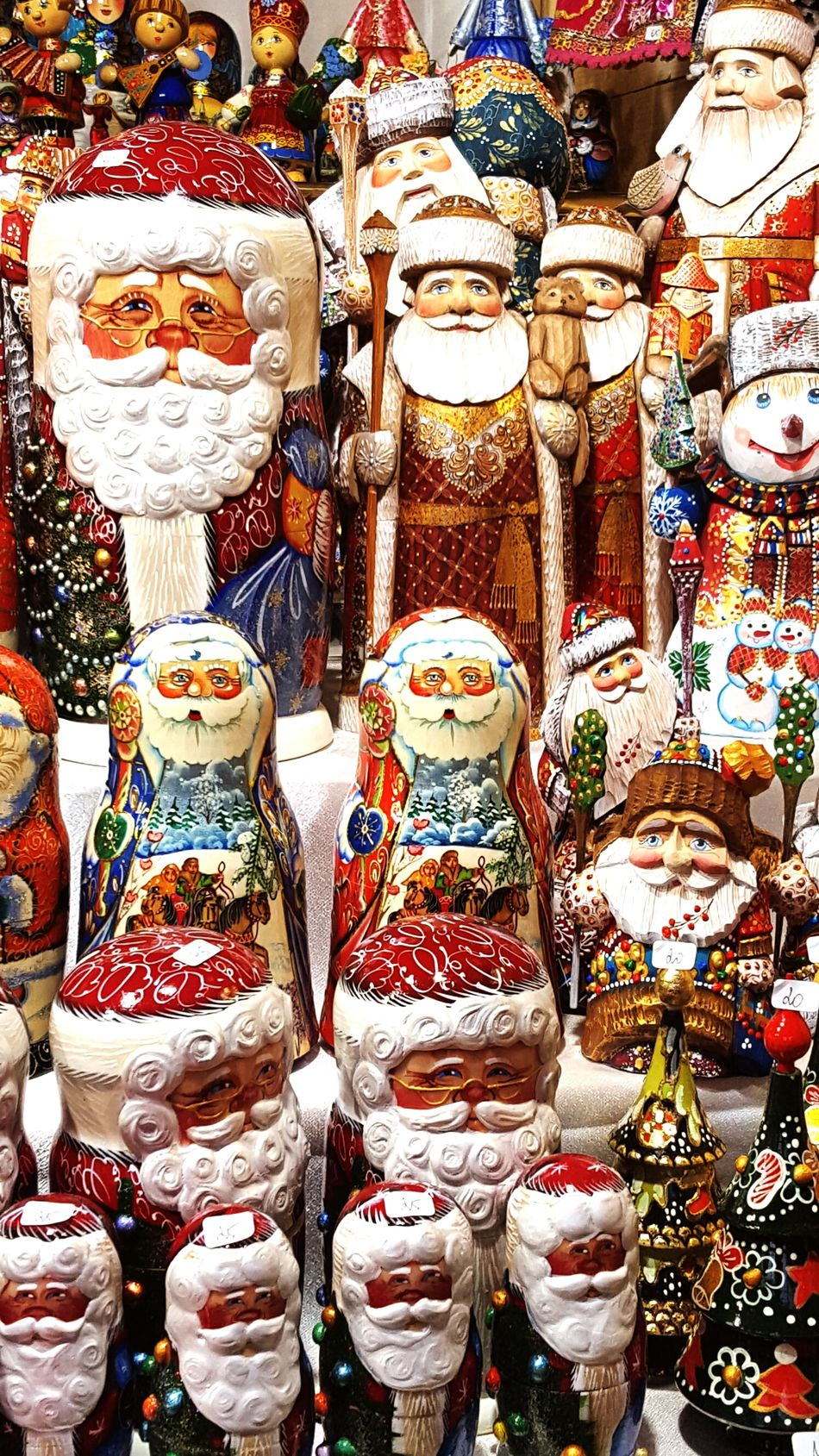 For Sale Multi Colored Market Stall Marché De Noël Christmastime Christmas Decorations Santa Claus