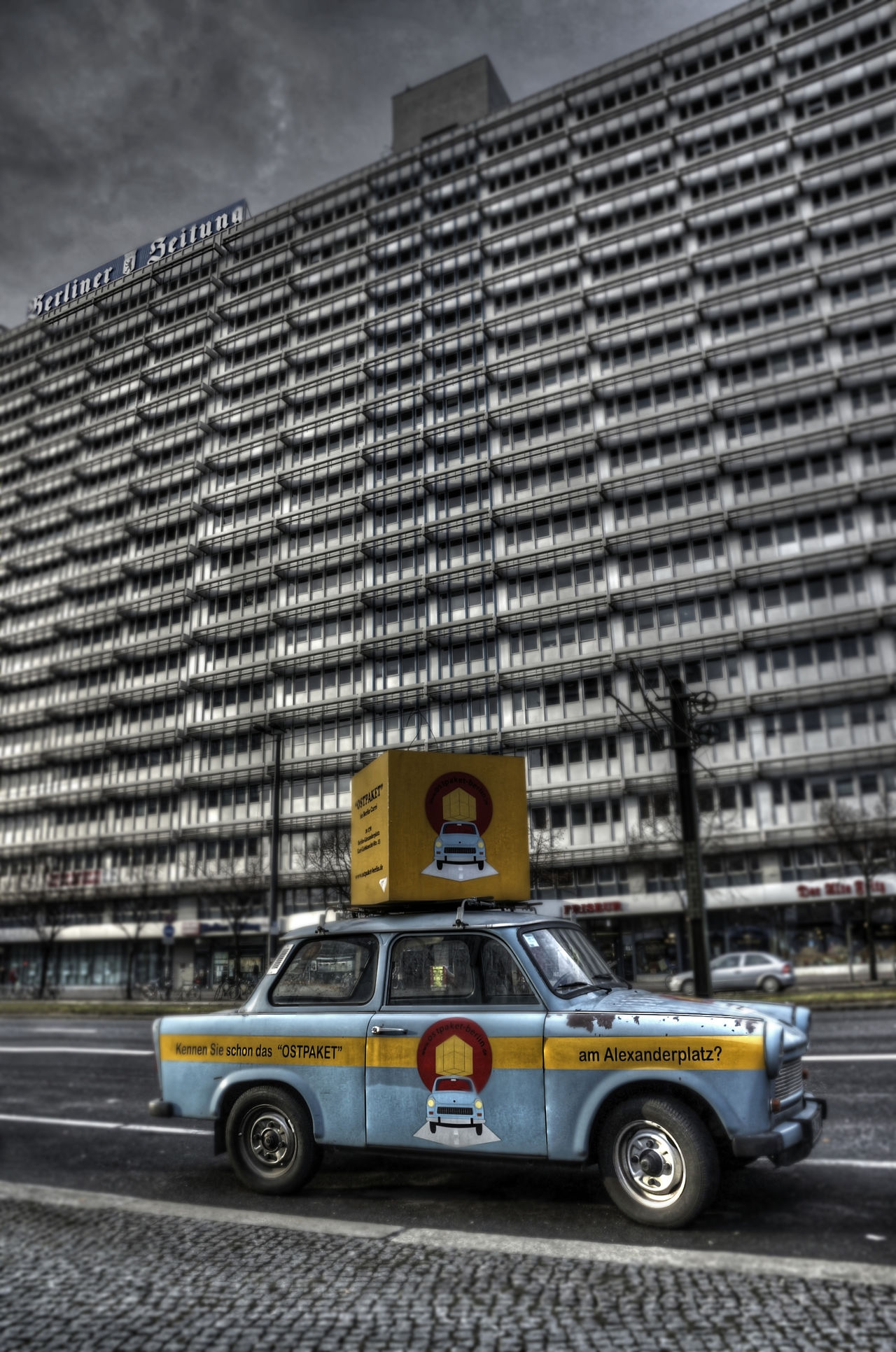 Architecture Berlin Building Exterior Built Structure Car City Day Land Vehicle No People Outdoors Plattenbau Sky Text Trabant Transportation Yellow Taxi