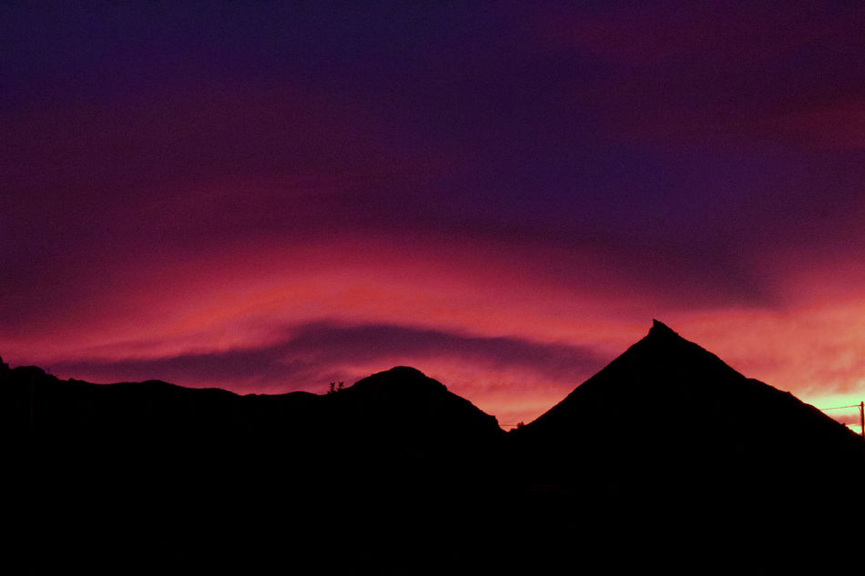 Beauty In Nature Dark Landscape Mountain Mountain Range Nature Night No People Outdoors Red Scenics Silhouette Sky Sky And Clouds Sunset Tranquil Scene Tranquility