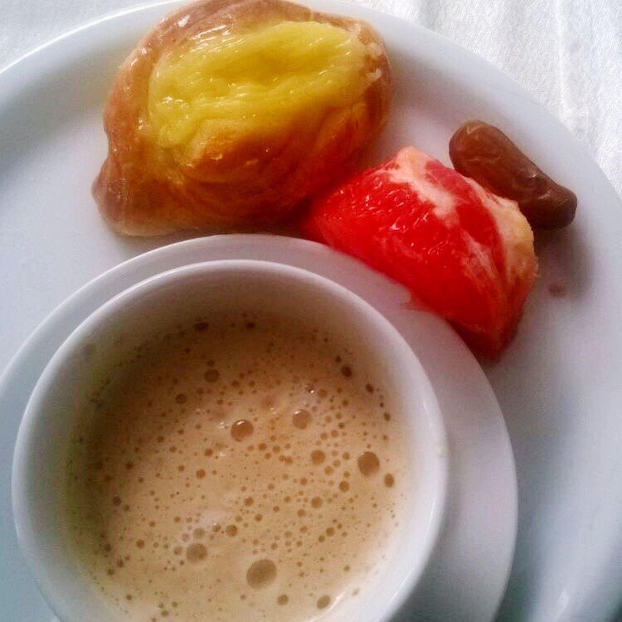 BreakfastTime  Dates Danish Pastry Grapfruit Cappuccino Hotel Breakfast Pink Grapefruit Froth Breakfast