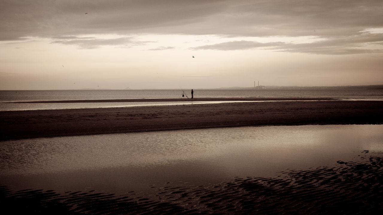 water, sea, sunset, beauty in nature, sky, nature, scenics, beach, tranquility, cloud - sky, tranquil scene, reflection, horizon over water, outdoors, no people, sand, day