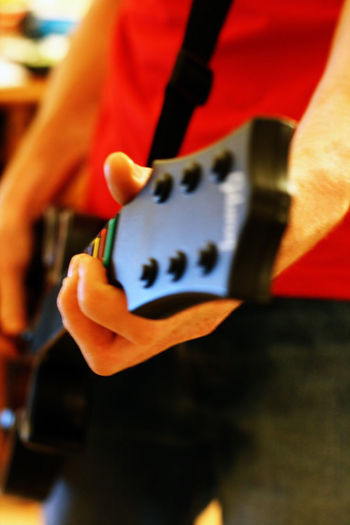 Close-up Depth Of Field Gameing Guitarhero Holding Human Body Part Human Hand Red Rockband Selective Focus Xbox