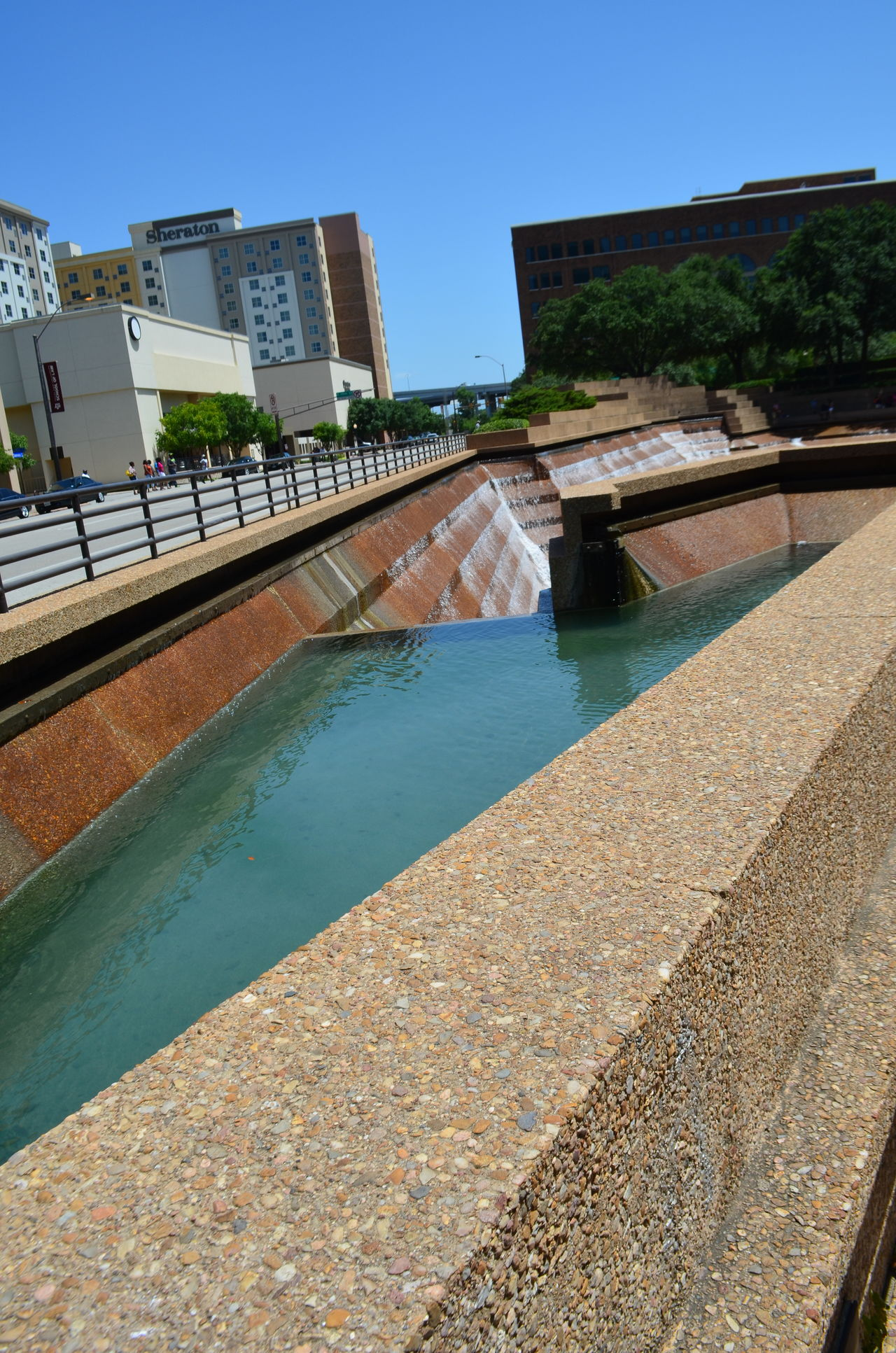 Blue Sky City Clear Sky Day Fort Worth Fort Worth Water Gardens Fort Worth, Texas No People Outdoors Sky Sunny Texas Trees Urban Landscape Water Water Garden  Waterfall
