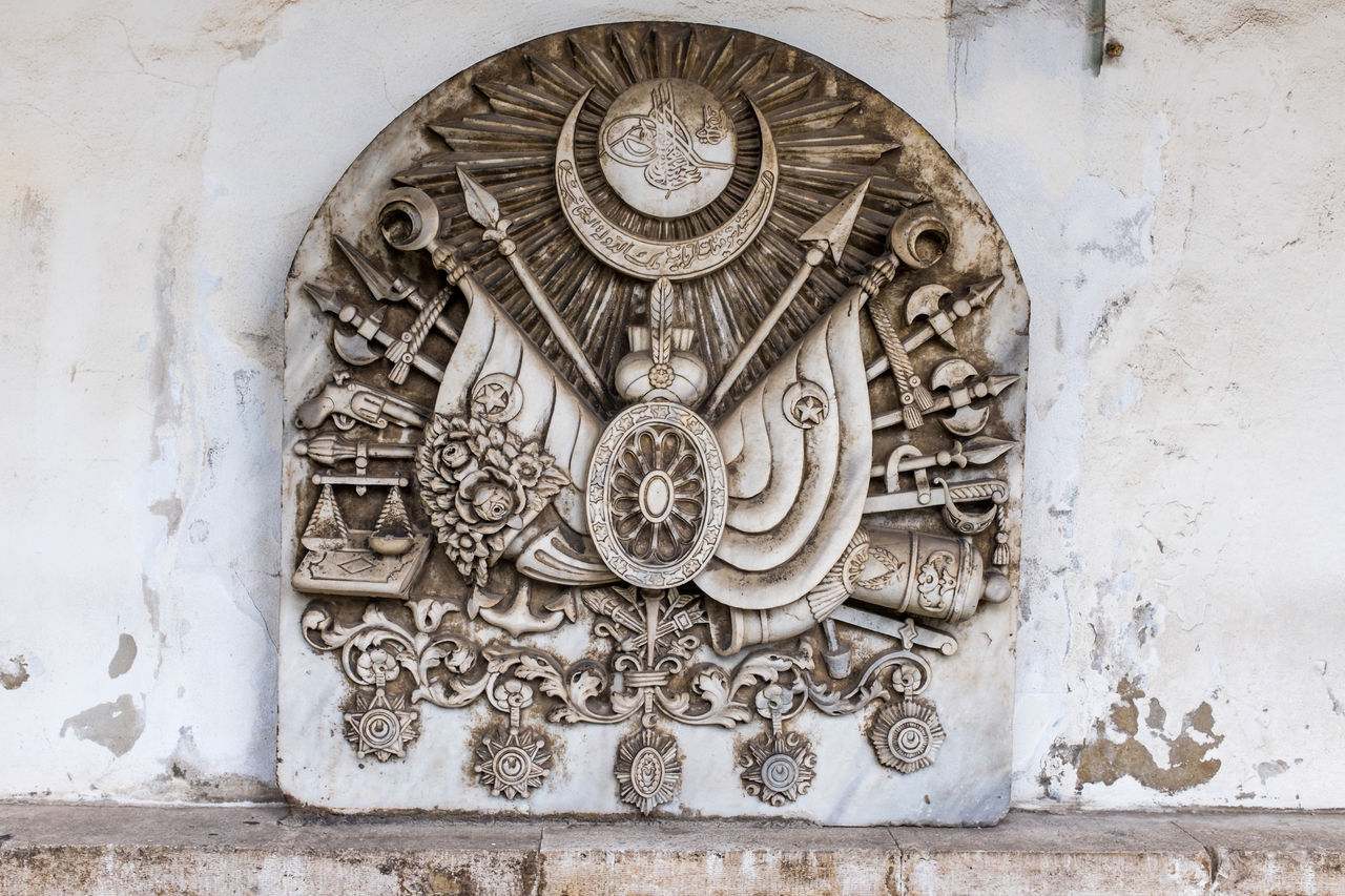 Ottoman empire coat of arms Architecture Astronomical Clock Bas Relief Building Exterior Built Structure Clock Close-up Coat Of Arms Day Europe History Museum No People Ottoman Empire Ottoman Empire Coat Of Arms Outdoors Time Topkapi Travel Destinations Turkey Türkei Türkiye