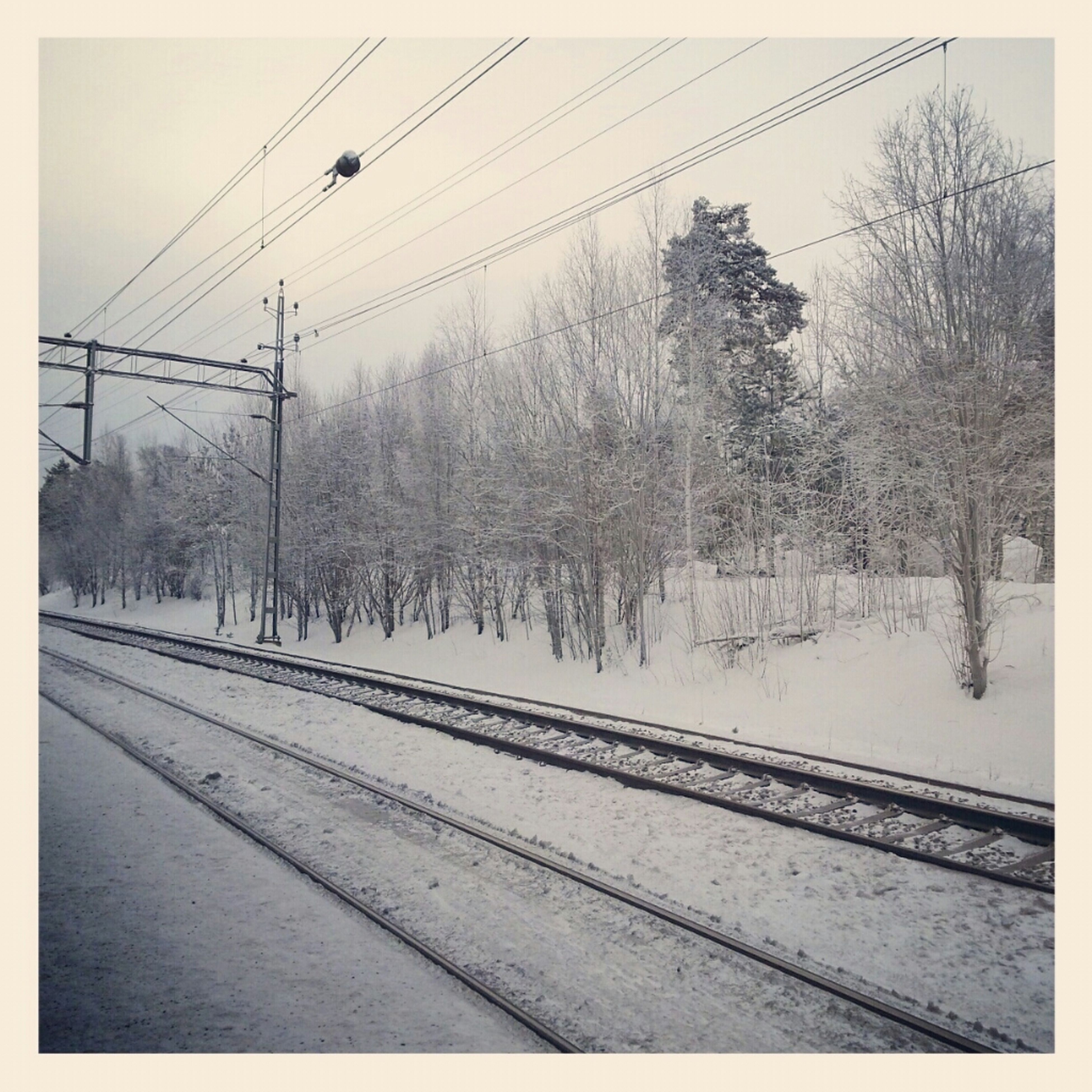 snow, transportation, winter, tree, cold temperature, transfer print, railroad track, season, power line, weather, auto post production filter, electricity pylon, rail transportation, road, connection, clear sky, public transportation, nature, day, power supply