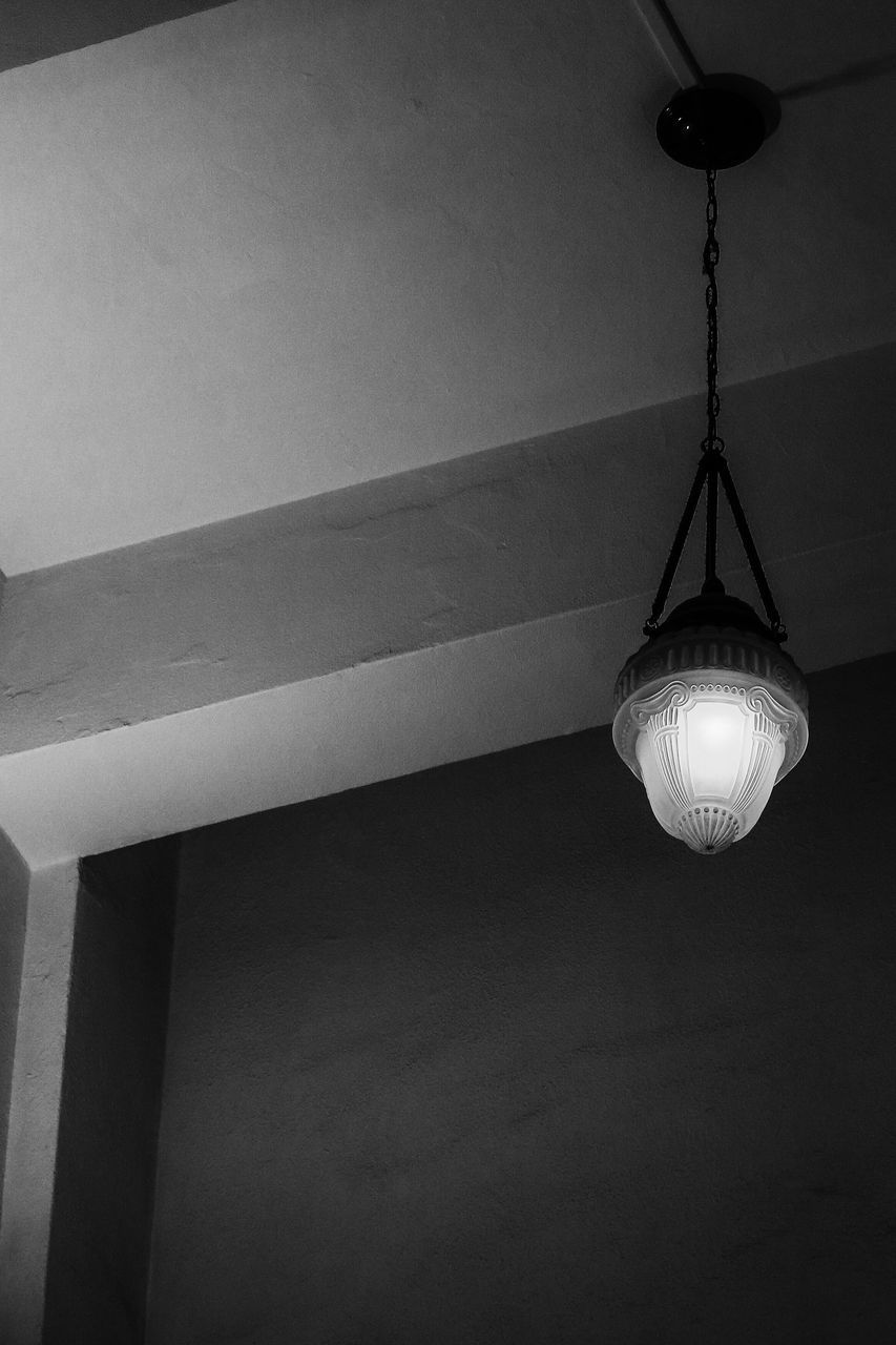 hanging, lighting equipment, no people, illuminated, indoors, ceiling, low angle view, close-up, day