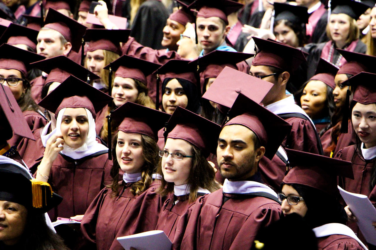 Arts Culture And Entertainment Creativity Enjoyment Event Graduation Graduation Ceremony Graduationday In A Row Leisure Activity Lifestyles Mask - Disguise Medium Group Of People Person Repetition Selective Focus The Color Of School Togetherness People And Places