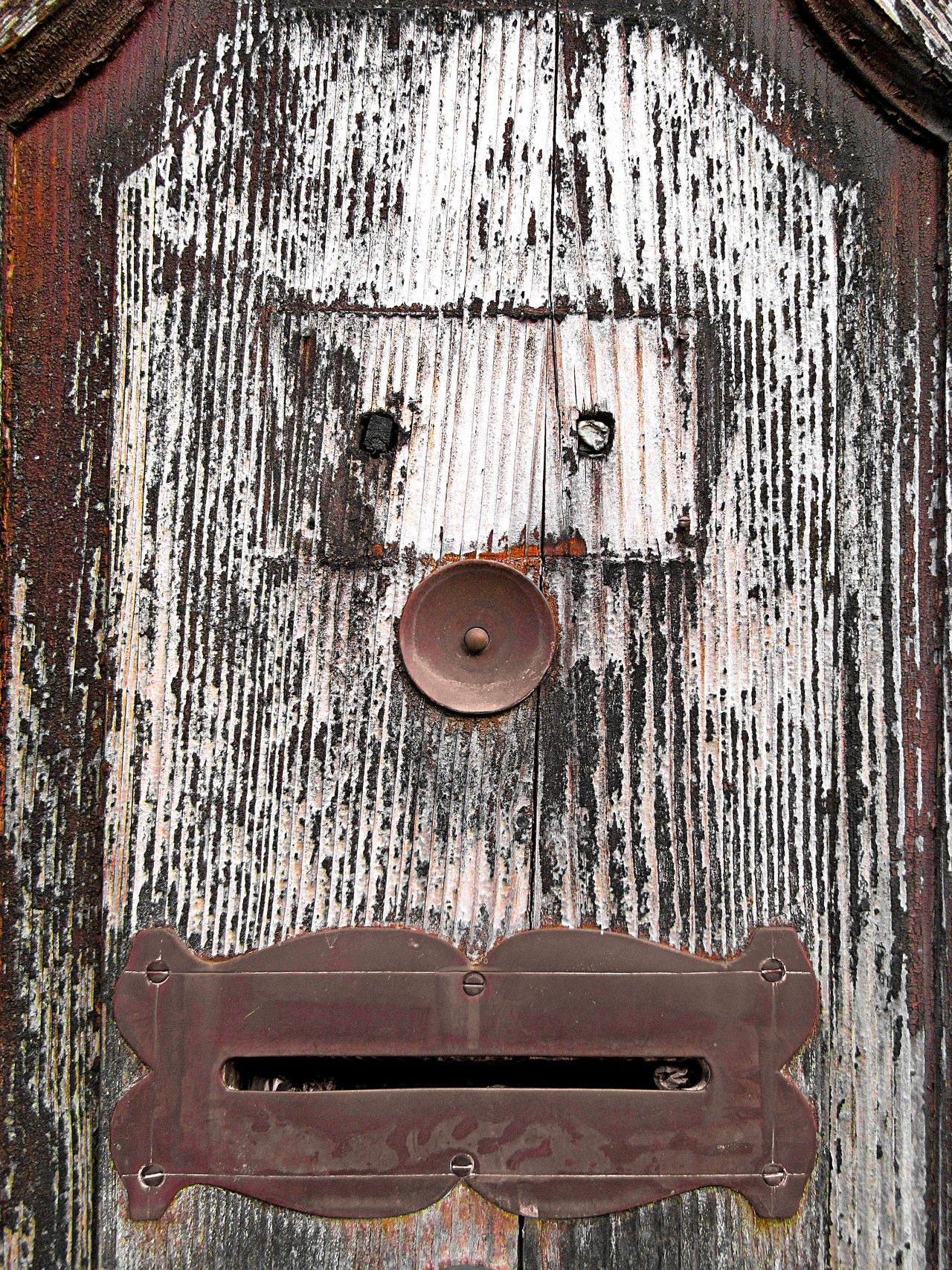 Wooden door bell and mailbox face Brown Close-up Day Door Door Bell Face Fun Funny Funny Faces Mailbox No People Outdoors Plank Timber Weathered Wood - Material