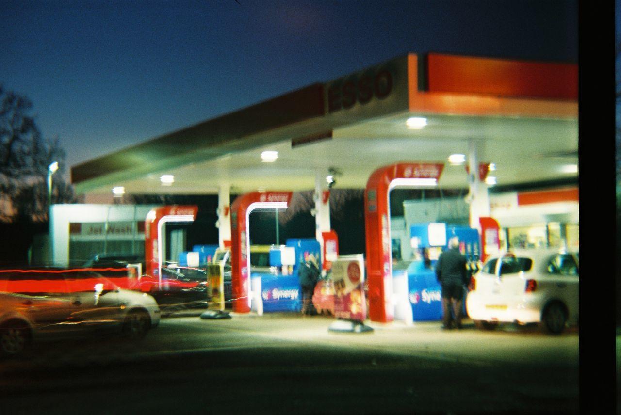 Night Lights Lights Petrol Station Colours Konstruktor DIY Built By My Self. Streaking Light Bulbphotography