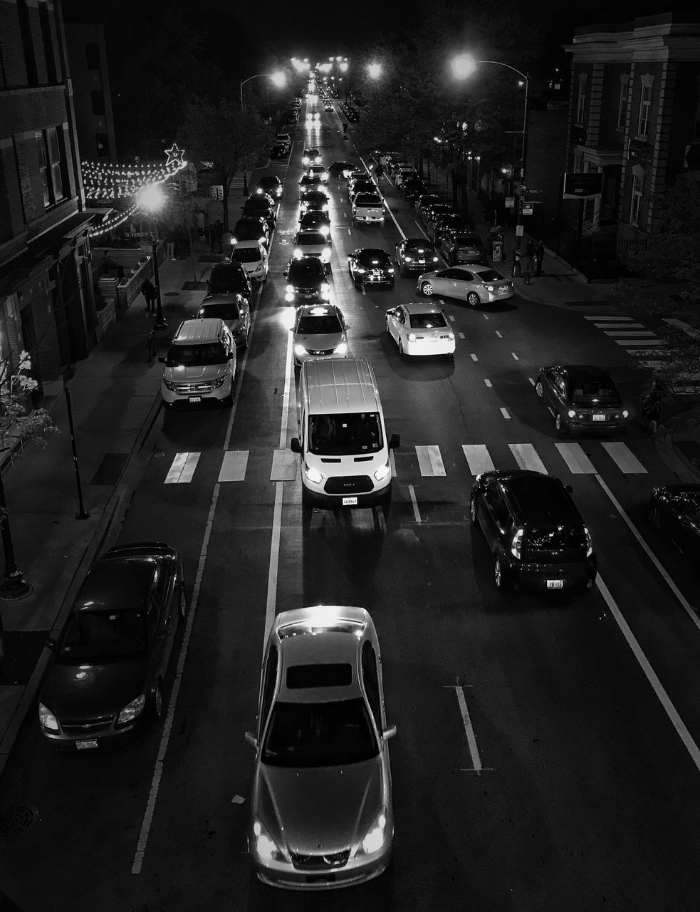 car, transportation, traffic, night, road, land vehicle, illuminated, street, high angle view, city, mode of transport, city street, outdoors, rush hour, no people, architecture, building exterior