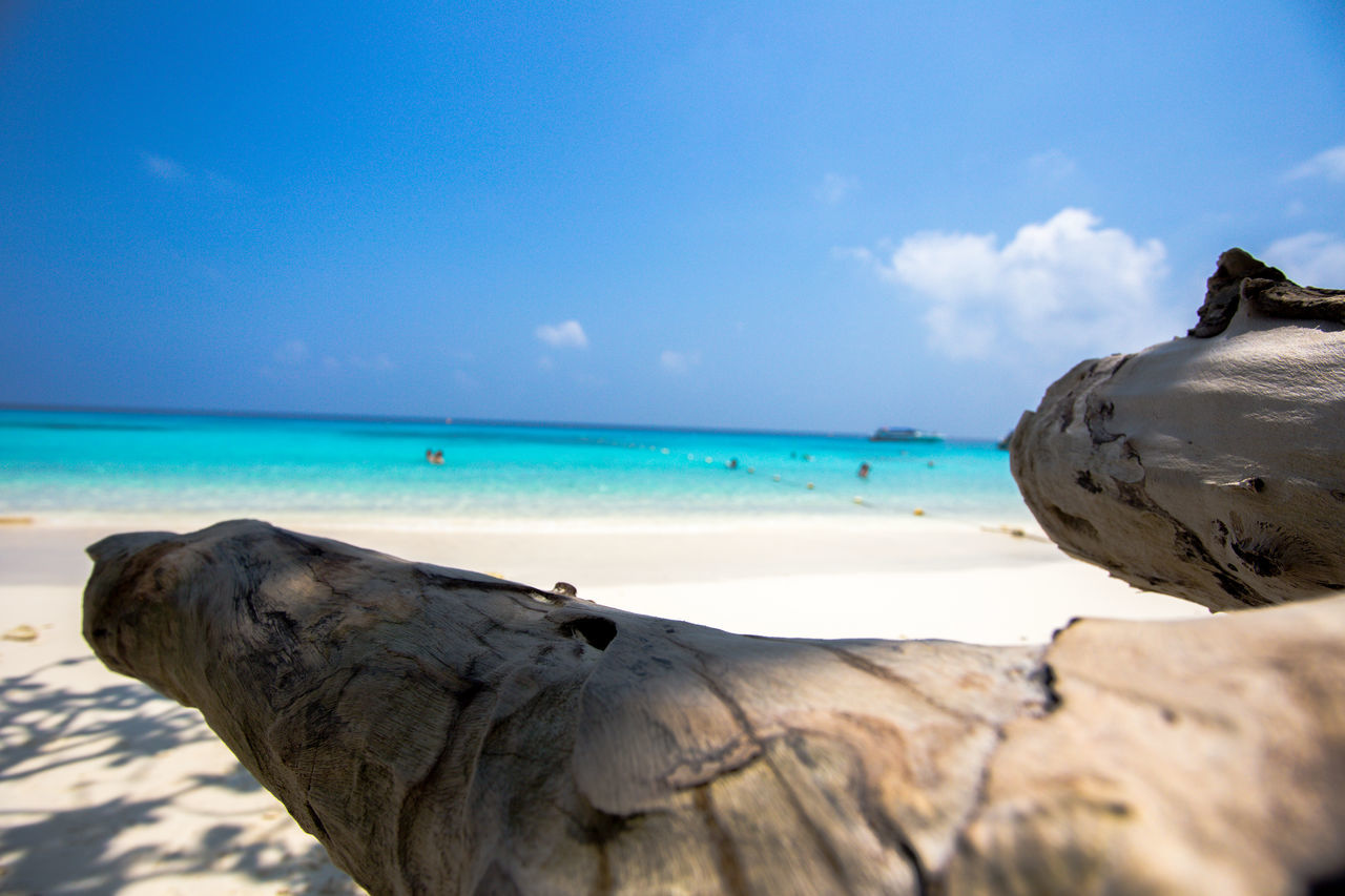Horizon Over Water Sea Beach Tranquil Scene Tranquility Wood - Material Sky Water Blue Shore Beauty In Nature Travel Destinations Nature Thaïlande Similan Island, Thailand
