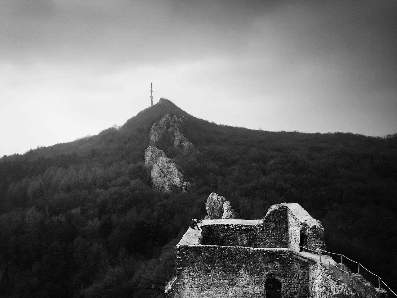 Remains of medieval fortress at old town Kalnik (elevation 500 m) and Vranilec mountain peak in the background (elevation 643 m), highest peak of Kalnik mountain ridge. Croatia, 2017. Kalnik Croatia Mountain Mountain Range Built Structure Old Town Ruins Ruins Architecture Architecture History Beauty In Nature Nature Outdoors Mountain Peak Peak TV Tower Tower