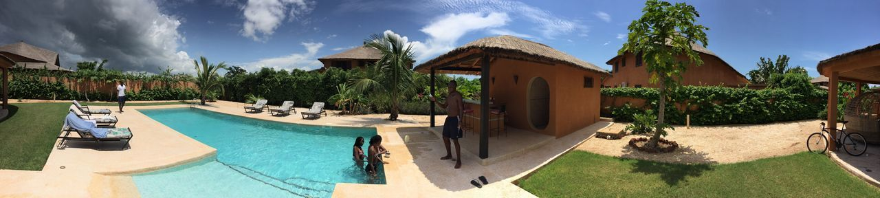 Blue Sky Bluesky Day Grass Green Holiday House House Palm Palm Trees Panorama Panoramic Photography Pno Pool Tree Vacation