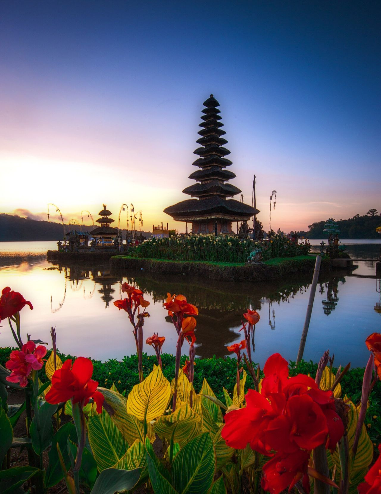 Temple Flower Nature Beauty In Nature Water Sunset Lake Sky Religion Plant Spirituality Travel Destinations Scenics No People Growth Outdoors Red Petal Flower Head Fragility Leaf Landscape_Collection EyeEmNewHere Bali