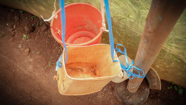 Agriculture Buckets Close-up Color Day Farm Focus On Foreground Industry No People Plastic Water Containers
