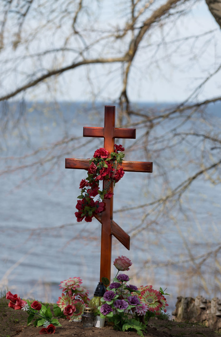 religion, spirituality, cross, crucifix, focus on foreground, no people, cemetery, place of worship, nature, day, tranquility, grave, branch, beauty in nature, flower, outdoors, water, close-up, tree, sky