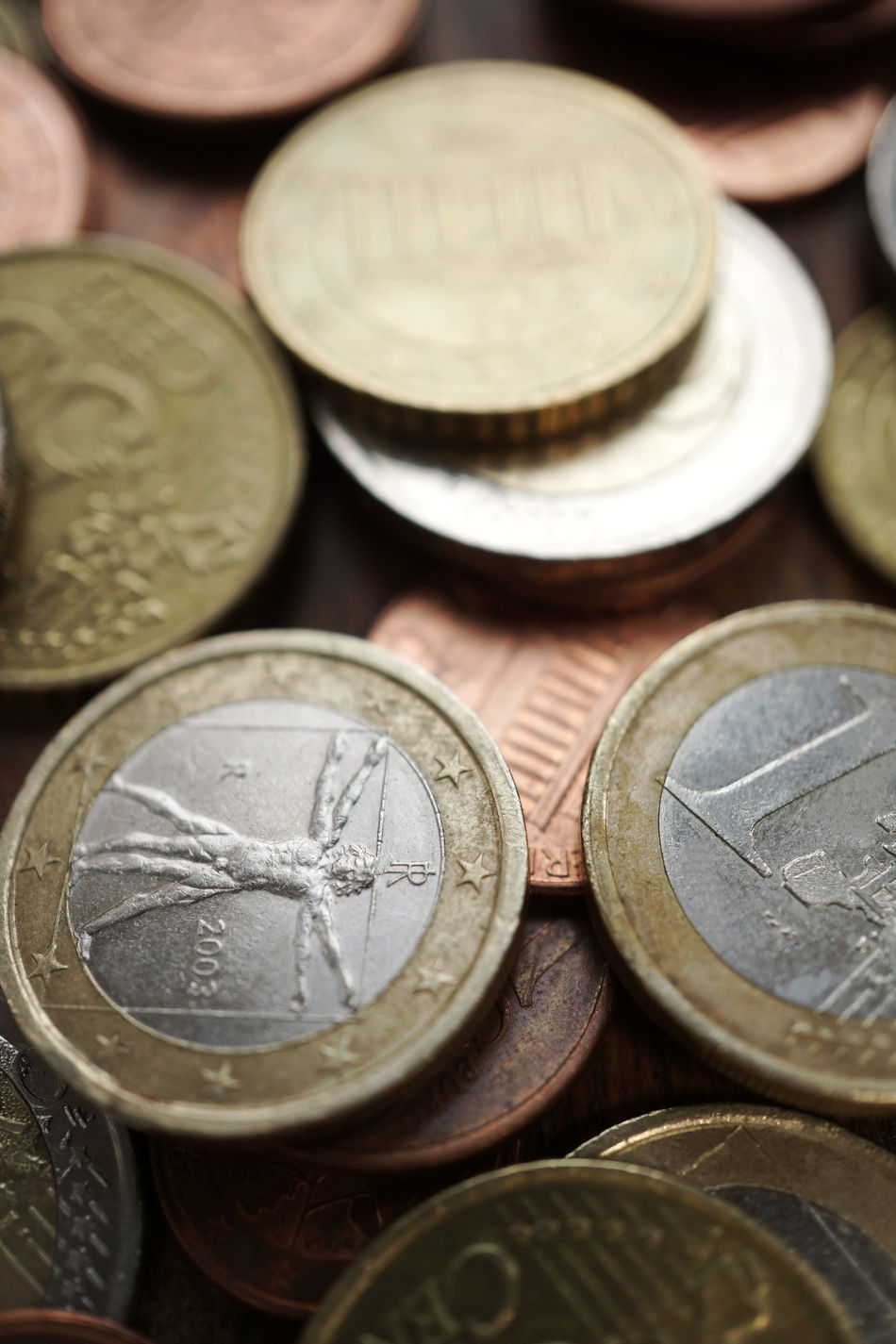 Euro coins close up Abundance Close-up Coins Currency Directly Above Euro Coins Europe High Angle View Metal Money Selective Focus Still Life