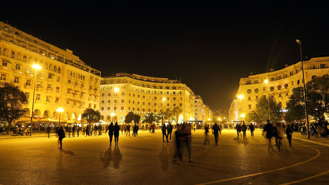 Thessaloniki - Greece. Aristotelous main square at night, with people walking. Architecture Aristotelous Square Building Exterior Built Structure City City Life City Street Clear Sky Europe Europe Trip Façade Famous Place Greece Illuminated Large Group Of People Lifestyles Mixed Age Range Night Night Lights Nightphotography Person Street Thessaloniki Tourism Travel Destinations