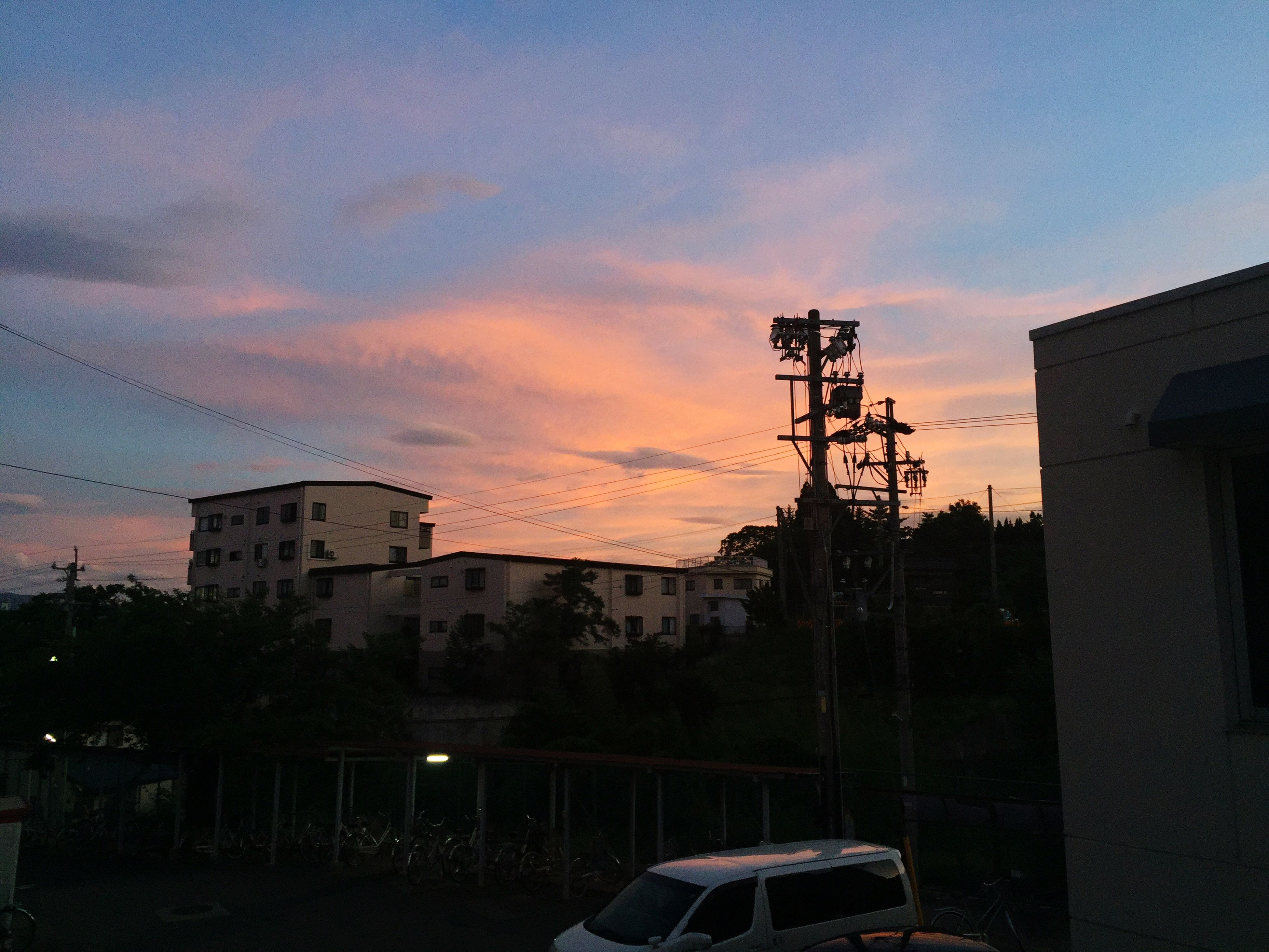 building exterior, architecture, built structure, sunset, sky, power line, electricity pylon, house, orange color, residential structure, electricity, silhouette, cloud - sky, tree, residential building, cable, power supply, city, connection, outdoors