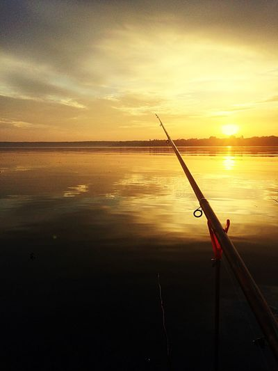 Рыбалка. Ранее утро на реке. Sunset Water Sea Tranquility Nature Sky Horizon Over Water Sun Fishing Pole Tranquil Scene Beauty In Nature Silhouette Outdoors No People Cloud - Sky Day Fishing Ukraine Kharkiv First Eyeem Photo