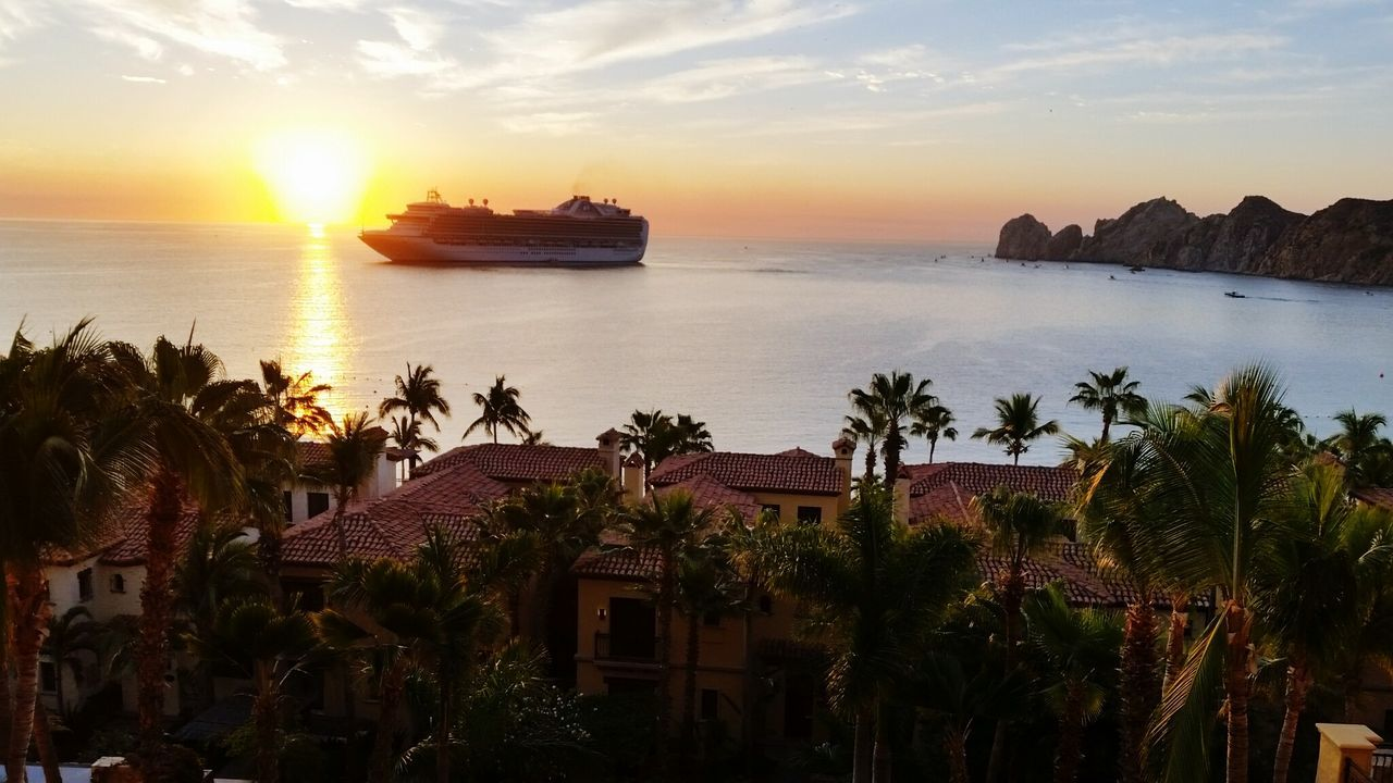 Sea Sunset Travel Dusk Travel Destinations Beauty Sunlight Orange Sky Sunset Mexico Cabo San Lucas Balcony View Coastline Nautical Vessel Sky Luxury Harbor Water Nature Outdoors Plant Scenics Tropical Climate Beauty In Nature No People Beach