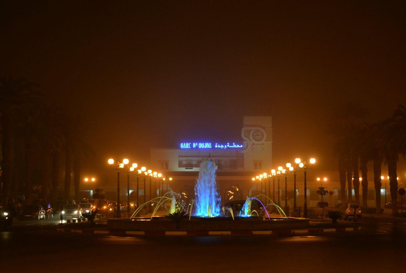 Oujda City, Morocco Train Station Foggy Night