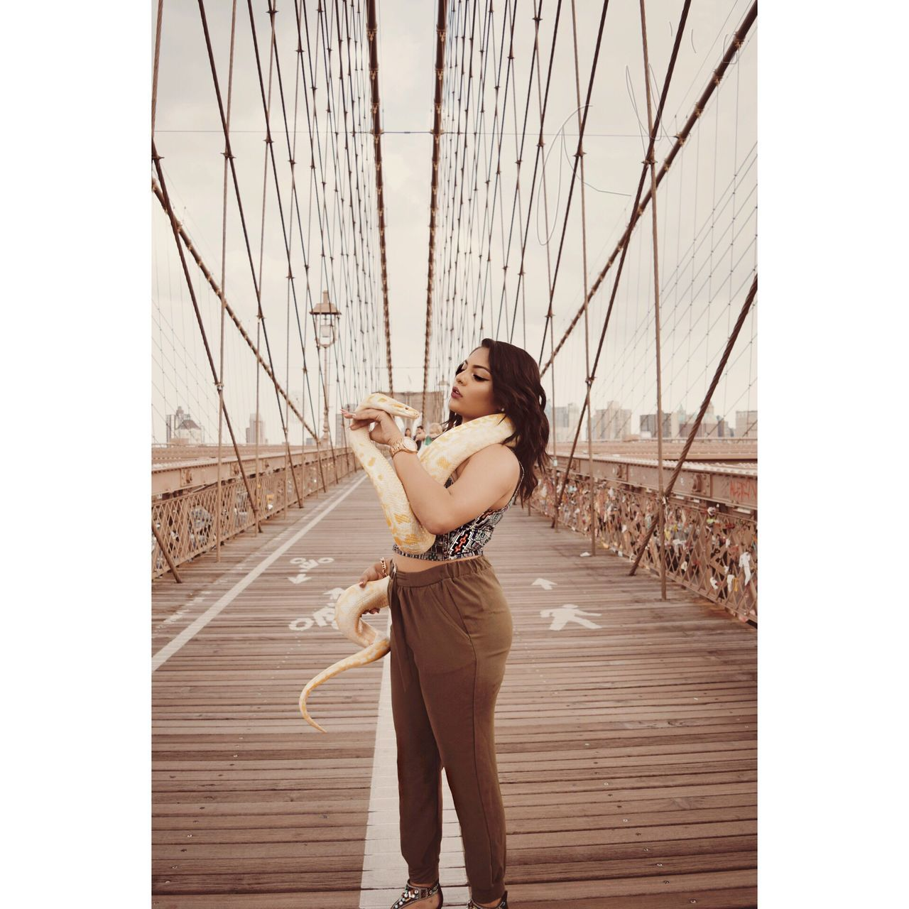 Bridge - Man Made Structure Photography Themes Photographing Young Women Young Adult Architecture Brooklyn Bridge  Outdoors City Beauty Portrait Front View