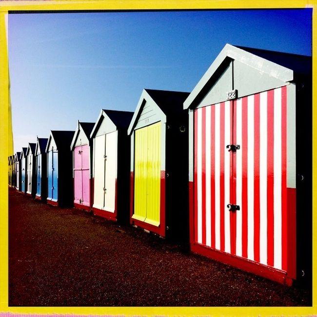 fantastically colourful beach huts at Hove sea front