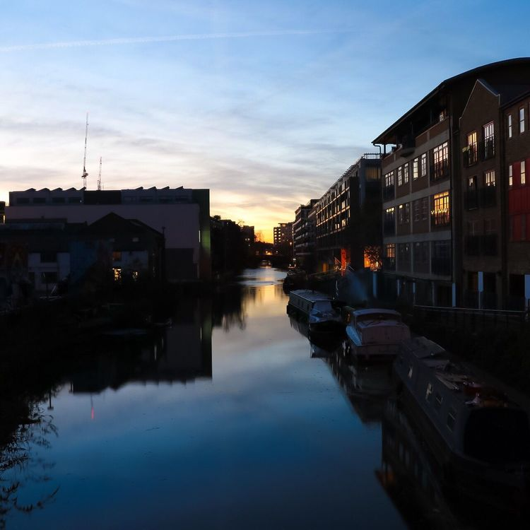 Sunset Reflection Outdoors London Regents Canal Canon 80D City Canal Water