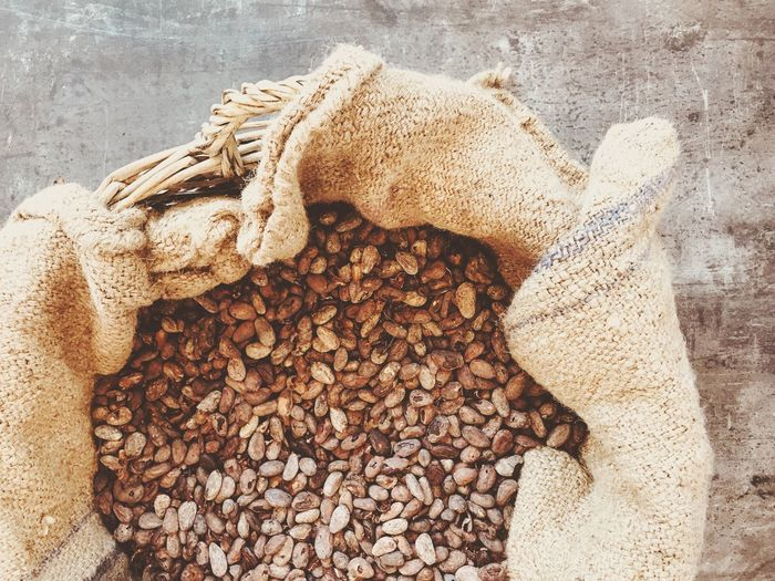 Cocoa Cocoa Beans Sack Large Group Of Objects Stack No People Heap Abundance Close-up Day Food