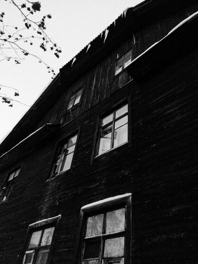 Old Wooden House in Murmansk Winter Day Black And White Monochrome Architecture Small City Life Icicles Black And White Collection
