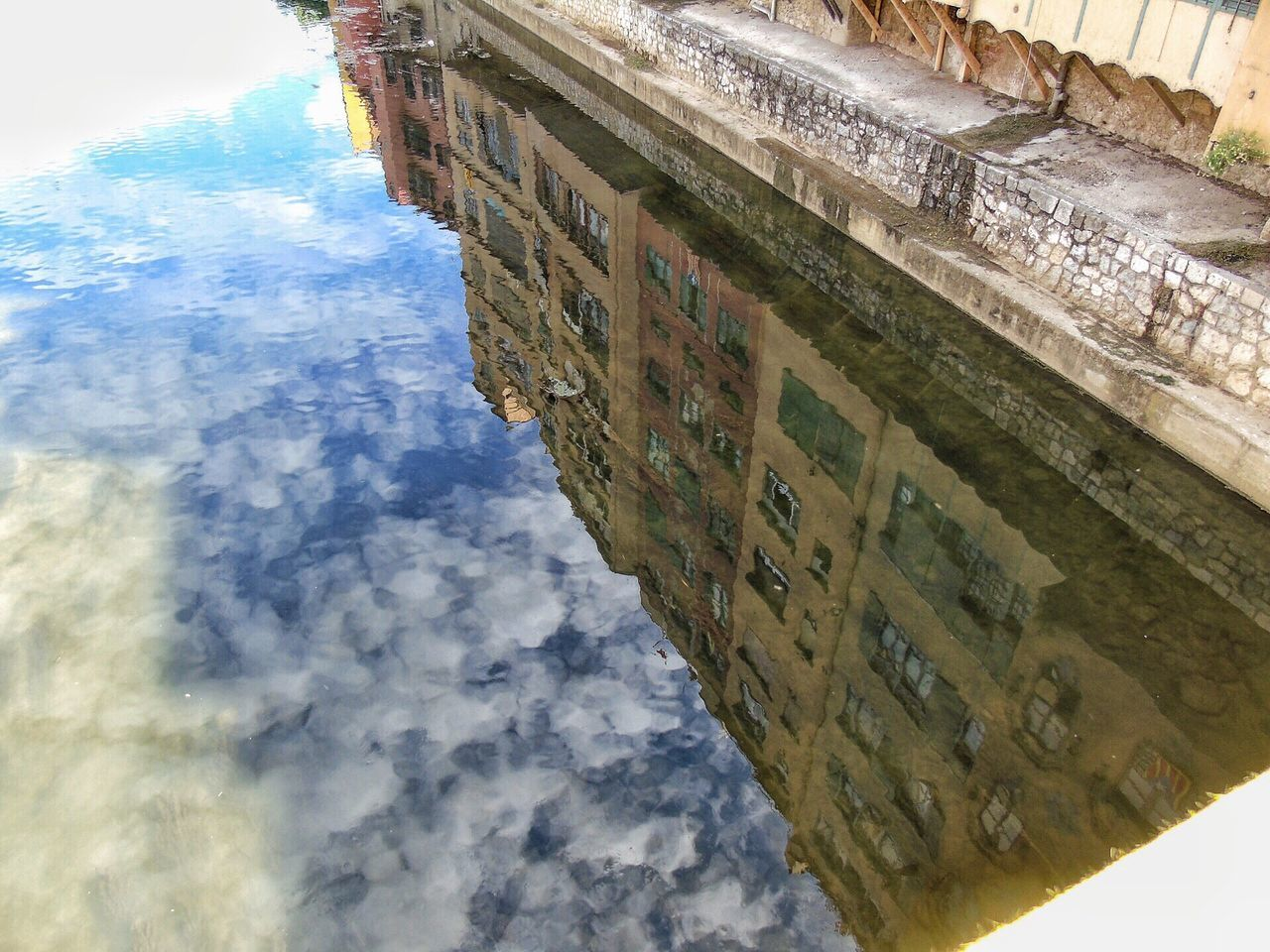 The Great Outdoors - 2017 EyeEm Awards Architecture Water Reflection Building Exterior Built Structure Day Outdoors Waterfront Sky No People Fish-eye Lens Nature Puddle Girona Temps De Flors 2017 Gironamenamora Girona