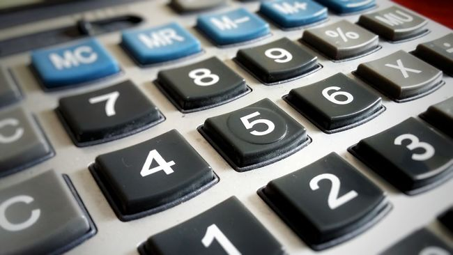 Calculator Digits Five Center 5 Blue