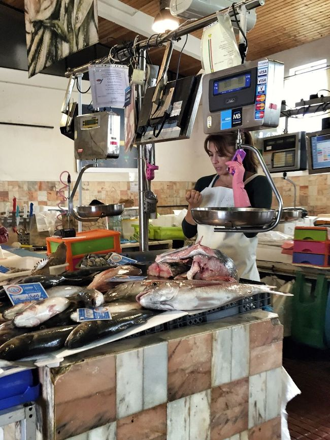 Mercado Mercadomunicipal Market Woman Calling for Fresh Fish Aljezur Costa Vicentina Algarve