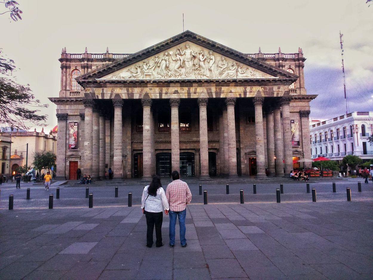 Couple Old Buildings Downtown Guadalajara Gdl City Walking Around Black & White History Dark Street Beautiful Degollado