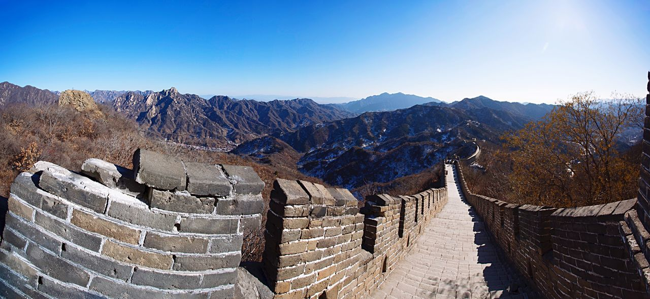 The Great Wall The Great Wall Of China Mountains Mountain Range View Landscape Panorama Nature Outdoors China ASIA Travel Traveling Heritage Culture History Architecture Monument Blue Sky Sunlight No People Perspective Chinese Beijing