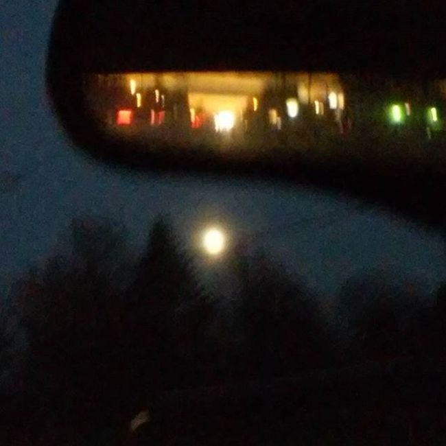 Sunset in my rearview mirror and bright moon ahead! Thought this was an awesome view! Sunset Moon Rearviewmirror Twoworldscollide Nightandday Opposites Sunsetsofinstagram Goodnightsun Goodeveningmoon