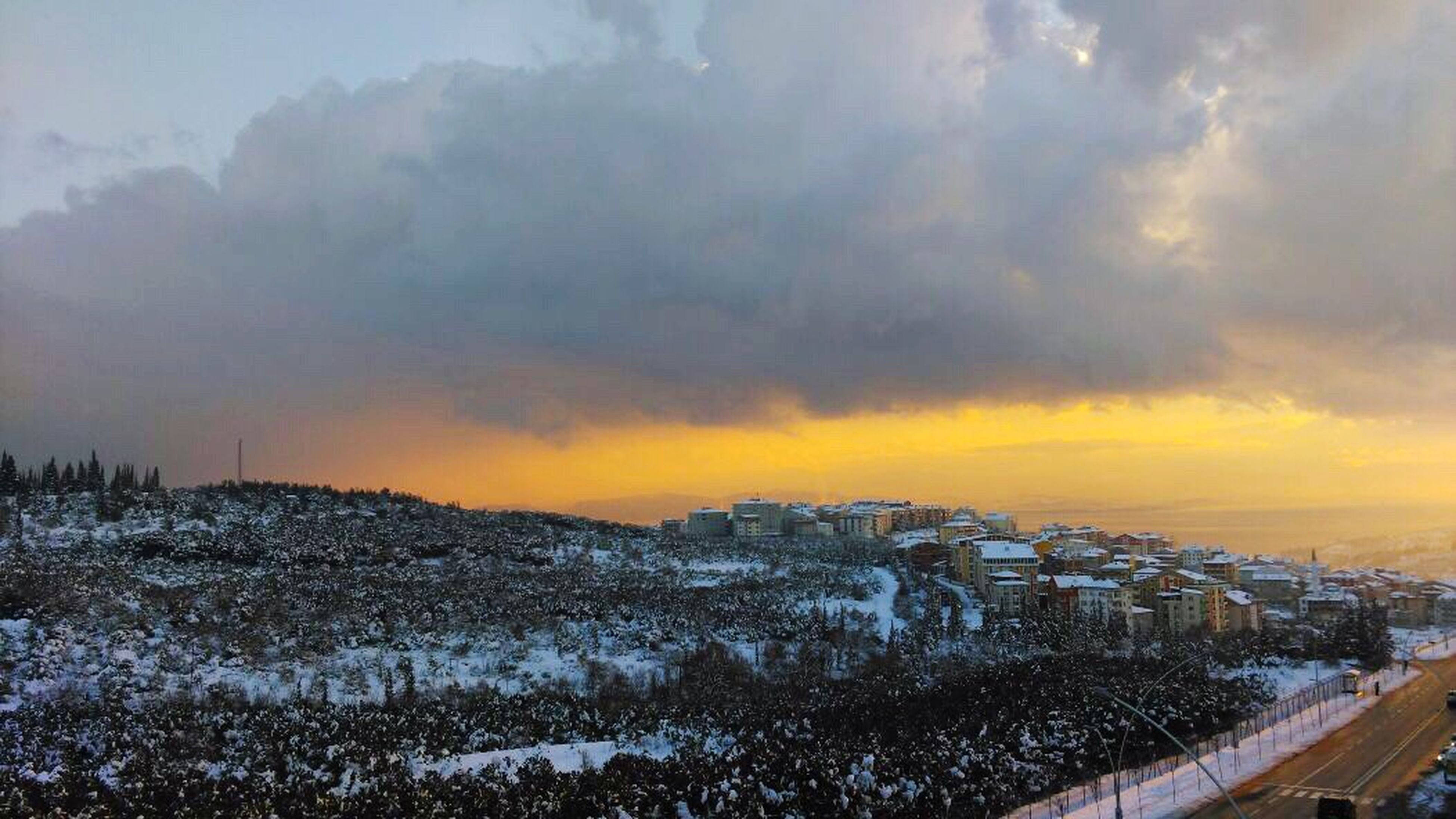winter, snow, cold temperature, sunset, weather, sky, cloud - sky, season, scenics, beauty in nature, orange color, tranquility, tranquil scene, nature, cloudy, landscape, covering, frozen, dramatic sky, idyllic