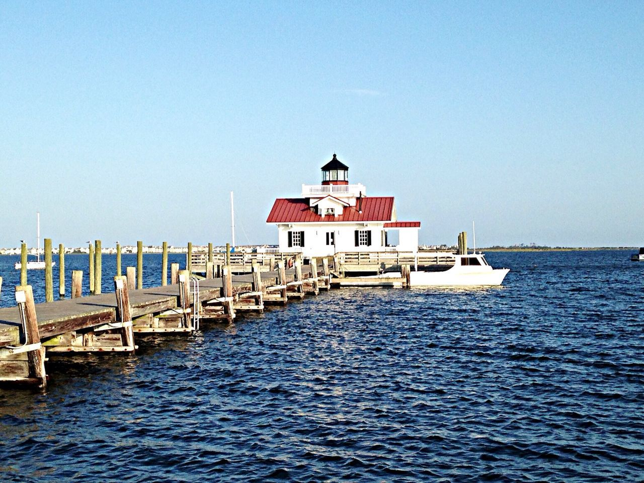 Another view of Roanoke Marshes Lighthouse in North Carolina. OBX14 Lighthouse Water Traveling