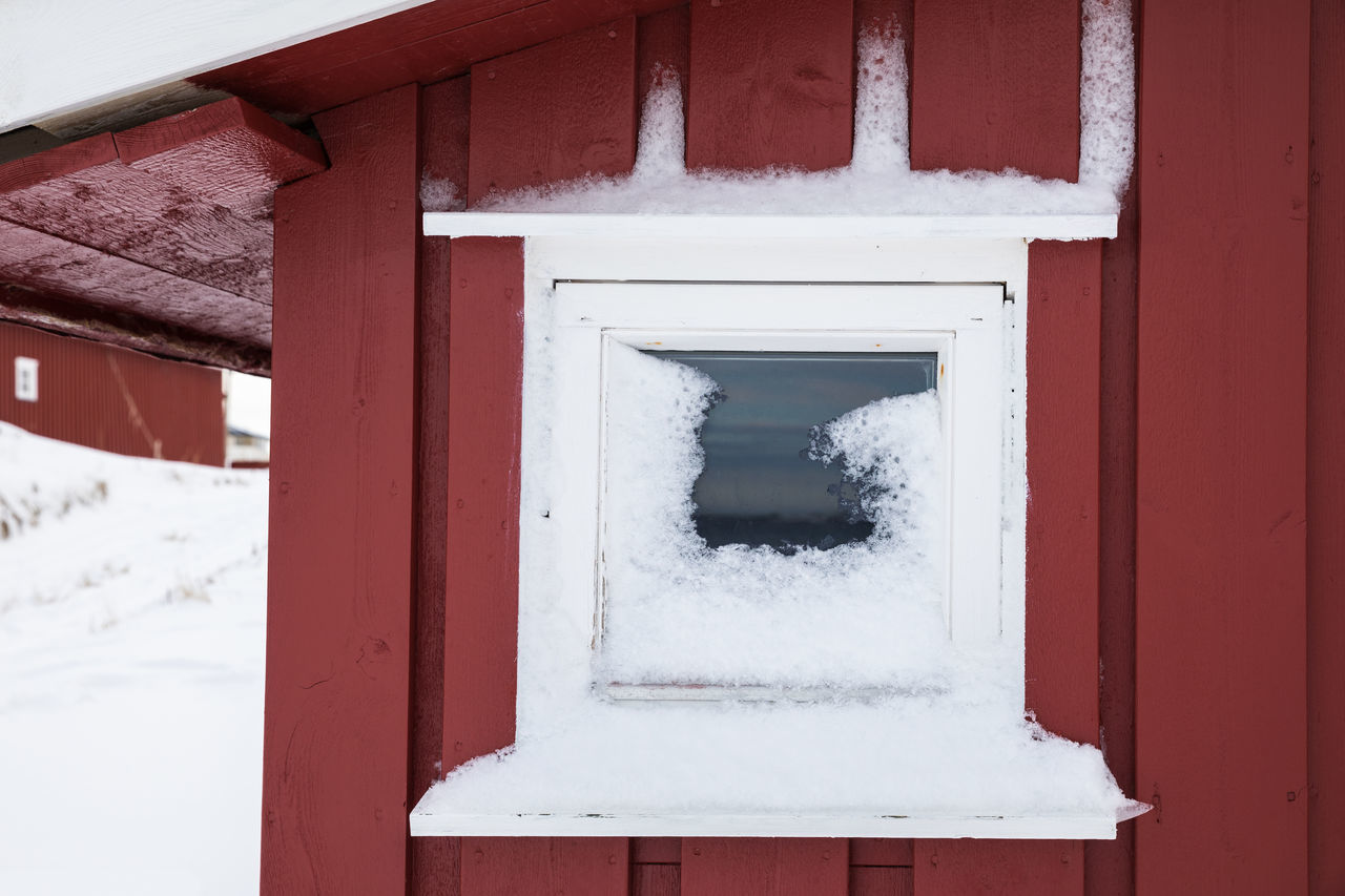 Close-up of small, snow covered window on a wooden boathouse Architecture Boathouse Building Exterior Built Structure Close-up Cold Temperature Covering Day Focus On Foreground Frozen Glass - Material House Lofoten And Vesteral Islands No People Outdoors Red Rural Scene Small Snow Wall - Building Feature Weather Window Winter Wood - Material