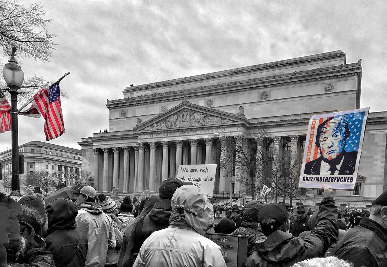 Along the inaugural parade route yesterday. The protestors outnumbered the supporters. The Resistance Peaceful Protest Washington, D. C.
