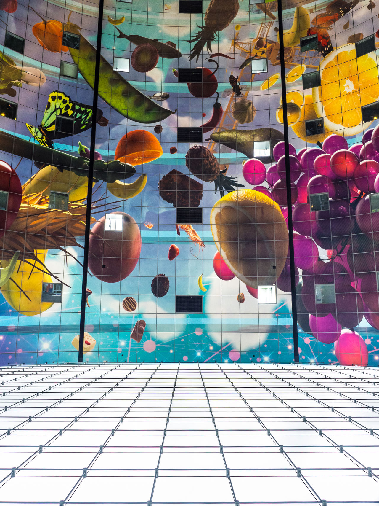 Interior of Rotterdam's famous Market hall. Architecture Beautiful Building Ceiling Colorful Commerce Contemporary Day Food Fruit Full Frame Future Holland Living Looking Up Low Angle View Market Markthal Multi Colored Netherlands No People Rotterdam Squares The Architect - 2017 EyeEm Awards Vertical