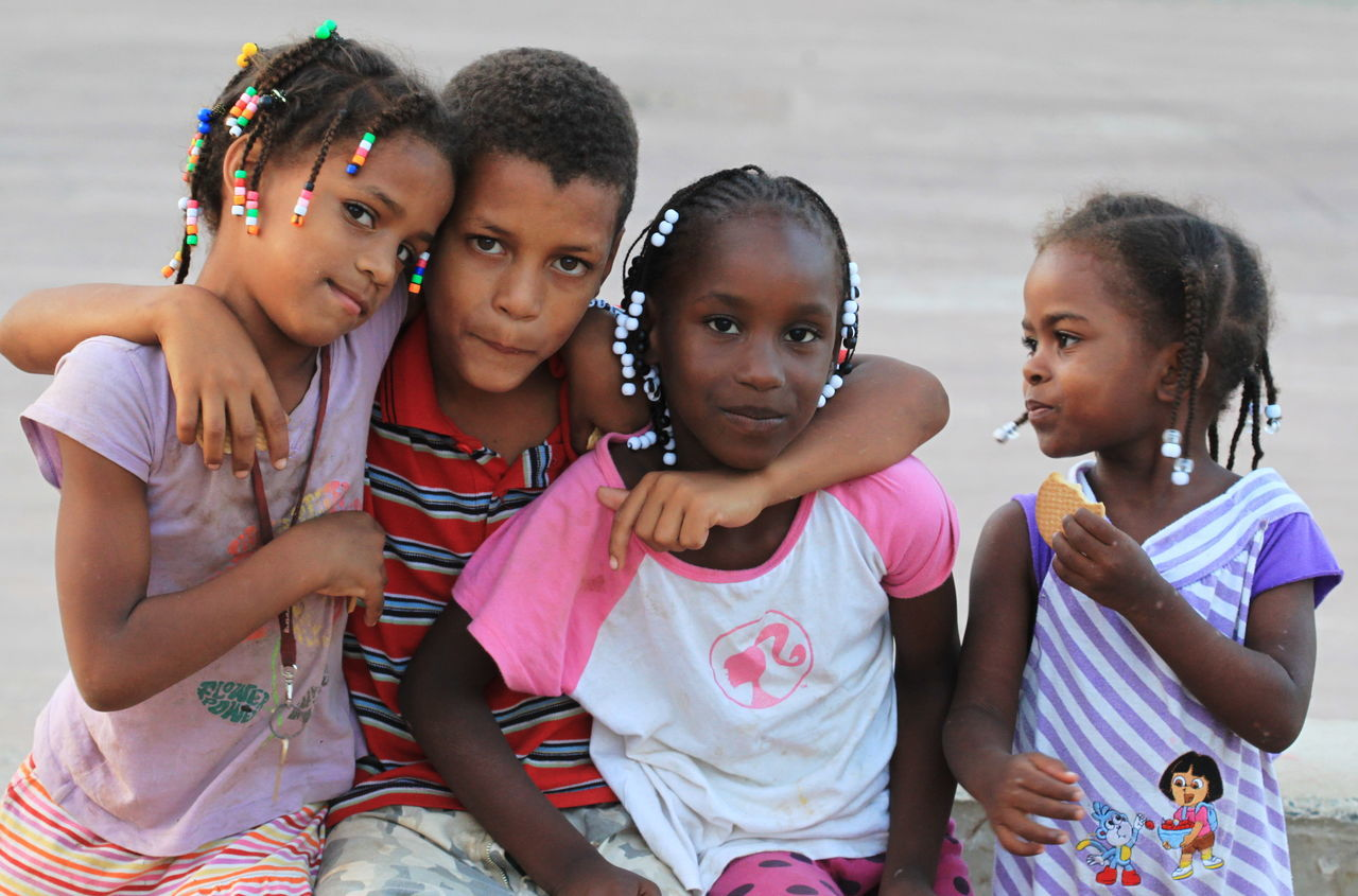 Boy And Girls Capo Verde Grey Background Group Of People Nice Expression Outdoors People Portrait RASTA Sal Island Santa Maria Summer 2015 Togetherness