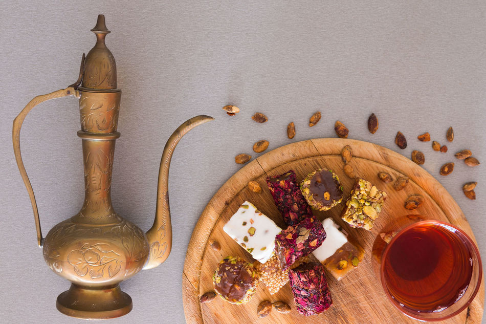 Food Ginger Indoors  Jug No People Oil Lamp Ready-to-eat Sweet Table Tea Turkish Delight Turkish Sweets White Background Wood - Material