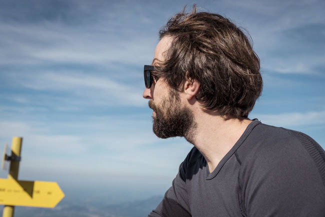 Beard Berchtesgaden; Bokeh Break Brown Hair Dark Hair Dark Haired Man With Sunglasses Hair Hiking Man Resting Shirt Sunglasses