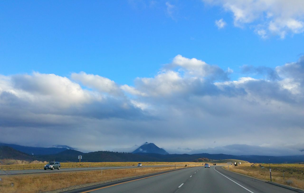 Black Butte from I-5. Mountain View Traveling Clouds And Sky Connected With Nature