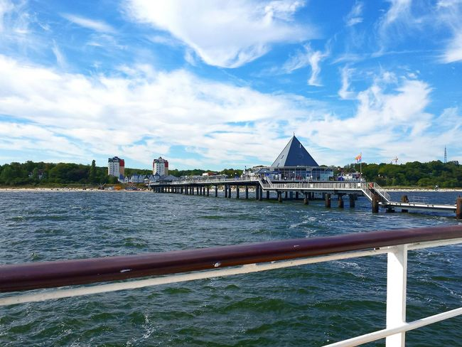 Blue Sky With Clouds Ladyphotographerofthemonth Vibrant Color From A Boat Seebrücke Heringsdorf Bäderarchitektur Pier Connection Architecture Built Structure Tranquil Scene Scenics Tranquility Outdoors Diminishing Perspective Baltic Sea Tranquility Blue Tourism Distant Long
