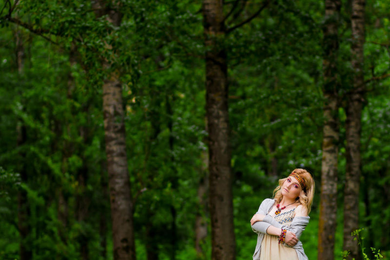 Green Green Color Nature Trees Among The Trees Blond Hair Boho Day Forest Happiness Hippie Leisure Activity Nature One Person One Woman Only Outdoors Real People Standing Summer Tree Trees And Nature